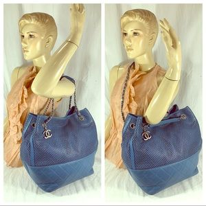 CHANEL Up In The Air North South Tote Blue Leather